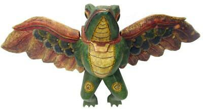 """Bali Winged Guardian Frog Mobile Carved Painted Wood 1980s Large 53cm / 20"""" Wide"""