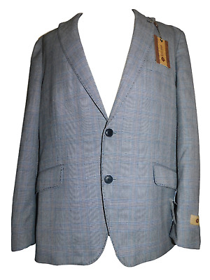 NEW Men's 1926 ORIGINALS HAGGAR Gray Plaid Slim Fit Suit Jacket Coat Blazer 46R