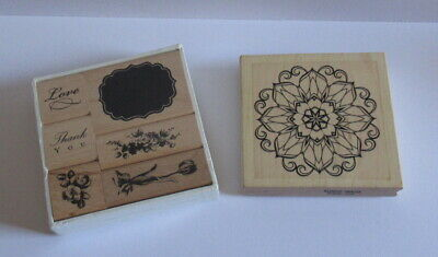 Wooden Rubber Stamps Flowers / Thank you also includes 1 x Elusive Images Stamp