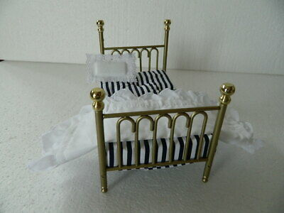 "(H18) 1/12th scale BRASS ""CAST IRON"" LARGE SINGLE BED AND COVERS ( SEE SIZE)"