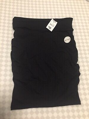 Maternity Black Stretch Skirt Ruched Sides Size 10