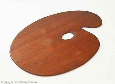 Antique Mahogany Wooden Windsor & Newton Artists Paint Palette Board - Stamped