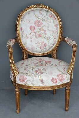 Carved antique gilt wood French Louis XVI armchair tub shaped fauteuil Gustavian