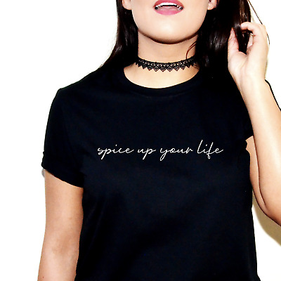 Spice Up Your Life Printed Slogan T-Shirt Tshirt Top Girls World Tour Girl Power
