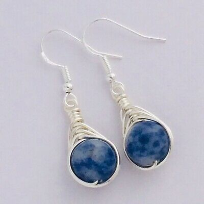 Blue Sodalite Gemstone Wire Wrapped Earrings Healing Crystal 925 Silver Plated