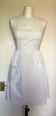 Vintage French Apron White Cotton with Ric Rac Detail Maid Tea Party Nippy