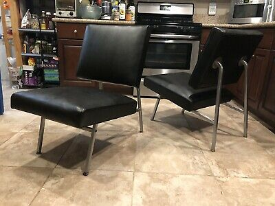 Art Deco Machine Age Moderne Black & Chrome Lounge Chair