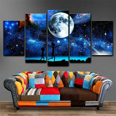 Rick And Morty Starry Sky Moon & Space Framed 5 Piece Canvas Wall Art