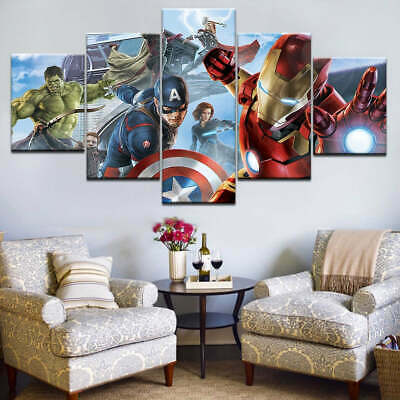 Super Hero Avengers Captain America Hulk Iron Man Framed 5 Piece Canvas Wall Art