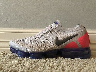 Nike Air Vapormax FK Flyknit Moc 2 (Size 6.5) Moon Particle Grey Red AH7006-201