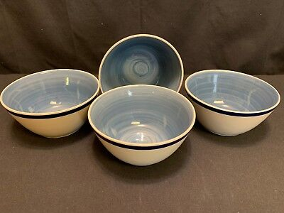 Gibson Everyday ~ NAVY / LIGHT BLUE  ~ Set of 4 ~ Soup / Cereal Bowls ~ 6""