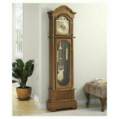 Antique Grandfather Clock Vintage Longcase Solid Wood Case Art Deco Traditional