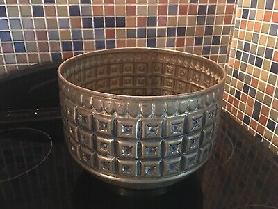 Antique/Vintage Art Deco Embossed/Repousse Brass Pot/Planter/Jardiniere England