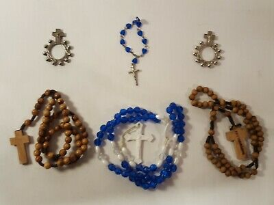 Rosary Lot Mixed Vintage Antique Modern Cross Prayer Beads Crucifix 6Pc (R666)