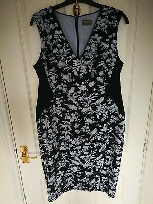 81c33b4a57f7 Oasis Womens Ladies Midi Summer Dress Size 16 Bodycon Pencil Navy Short  Sleeve I