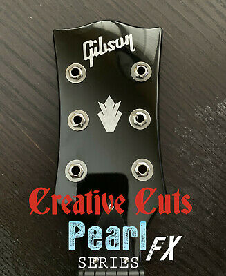 Gibson & Crown II Headstock Decal MOP Premium Vinyl Decal Inlay Version 2