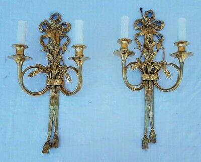 Antique French,Large Pair Of Sconces,Louis XVI Gilt Bronze,hunting horns,19th
