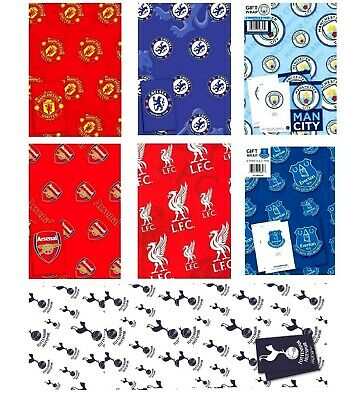 Official FOOTBALL Gift Wrap Wrapping Paper Premiership Club - choose your amount