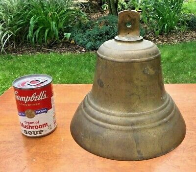"ANTIQUE HANGING BRASS BELL 9.25"" x 10 lb SHIP SCHOOL CHURCH FARM"