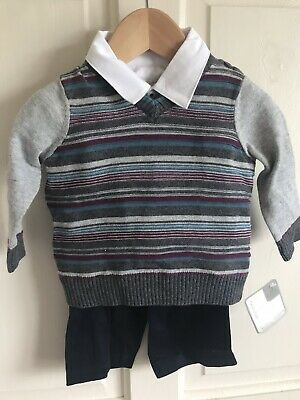 BNWT Mamas & Papas 3 Piece Set. Boys. Age 0-3 Months. Shirt/ Jumper/ Trousers