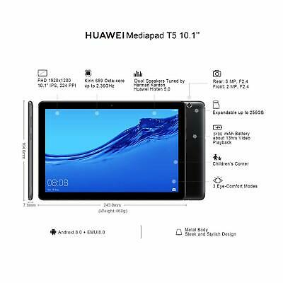 """Huawei Android Tablet MediaPad T5 with 10.1"""" IPS FHD Display 2GB+16GB, Black"""