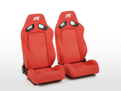 FK sport seats half bucket seat set Leipzig artificial leather red VW Audi Skoda