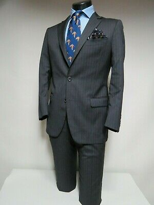 207caeeb39e3 Recent Brooks Brothers 1818 Fitzgerald charcoal pin stripe flat front suit  38 S
