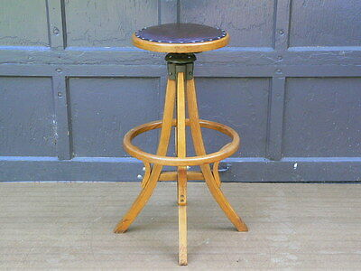 Antique Architect's Drafting Draftsman Stool oak chair w orig leather seat