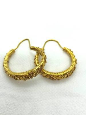 (4.25g) AUTHENTIC ANCIENT ROMAN MOON OF GOLD EARRINGS  I. CENTURY A.D. INTACT