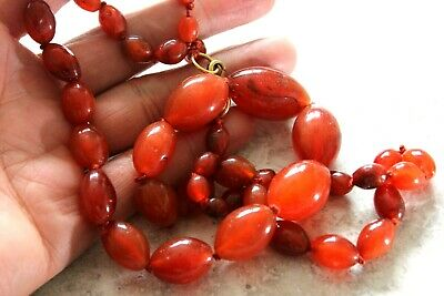Early Chinese Hand Knotted Graduated Blood Orange Carnelian Agate Bead Necklace