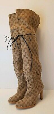 305bf794c GUCCI Original Canvas GG Over Knee SLOUCHY LISA BOOT Size 41, 11 Authentic!  NEW
