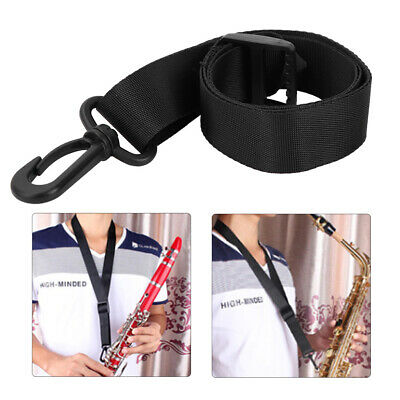 Adjustable  Neck Strap Padded Sax Saxophone for Alto Tenor and Clarinet Black