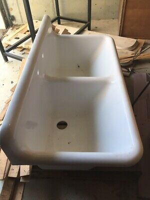 Vintage Cast Iron Deep Double Bowl Double Drain Board Sink Vintage Plumbing
