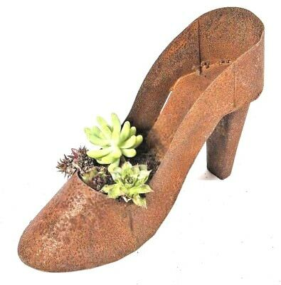Vintage rustic high heel stilletto garden shoes planter metal succulent flower