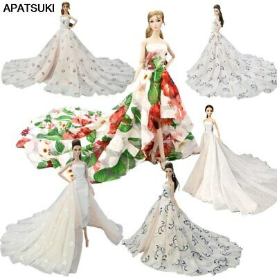 Colorful Floral High Fashion Doll Clothes for 1/6 Doll Wedding Dress Party Gown