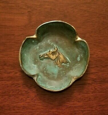 "Brass With Verdi Finish ""Horse Ash Tray"" Vm3-14V By Virginia Metalcrafters"