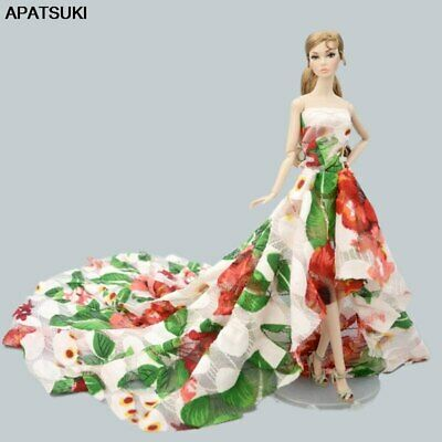 Colorful Floral Fashion Doll Clothes for 1/6 Doll Wedding Dress Party Gown