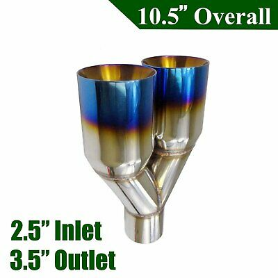 "1X Duo layer Polished Stainless Straight 2.5""In 3.5""Out Exhaust Tip Blue Burnt"
