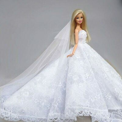 High Fashion Doll Clothes Wedding Dress for 1/6 Doll Clothes Party Gown Outfits