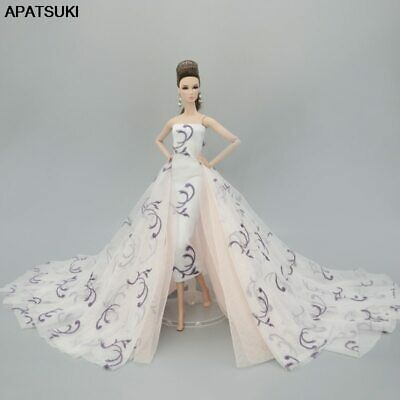 White Fashion Doll Clothes for 1/6 Doll Outfits Wedding Dress Party Gown Toy