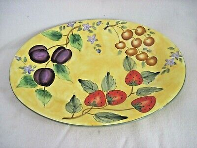 "Claire Murray Gibson Elite Bella Vita Serving Platter Oval 18.5"" Fruits Yellow"