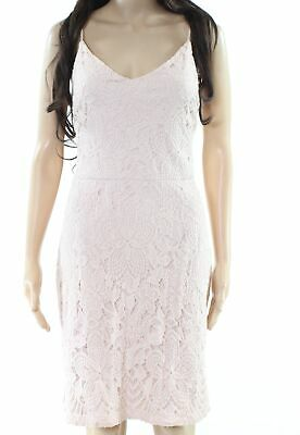 Guess NEW Blush Pink Womens Size 14 Floral Lace Overlay Sheath Dress $128 032