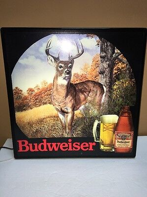 Budweiser Beer Sign Hunting Brittany Spaniel Dog And