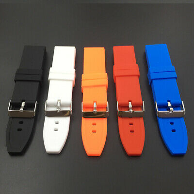 Silicone Rubber Waterproof Sport Wrist Watch Band Strap 16/18/20/22/24/26/28mm
