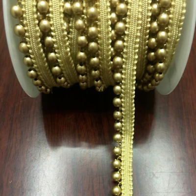 Gold Pearl Beaded Trim Braid Lace Applique Fringe DIY Craft Price per 30cm