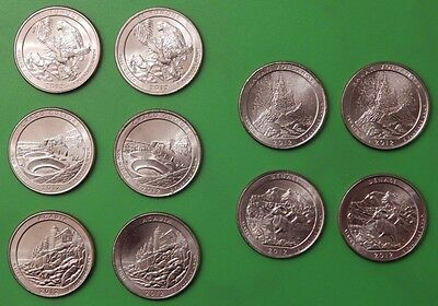 2012 US (5P and 5D Mints) Parks Quarters Graded as Brilliant Uncirculated