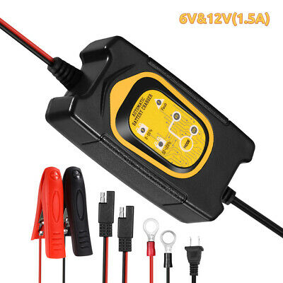 12V/6V 1.5Amp Smart Trickle Automatic Battery Charger Maintainer For Car RV ATV