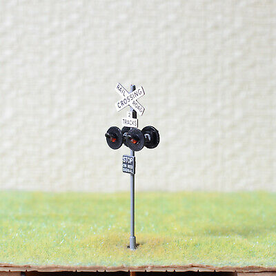 1 x OO / HO scale railroad crossing signal LED made 4 target faces silver #2GR4X