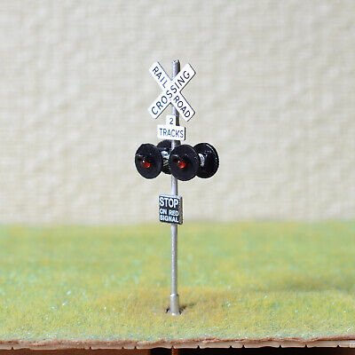 1 x OO / HO scale railroad crossing signal LED made 4 target faces silver #2SL4