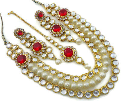 70a2b2c535e9b7 Hot Pink Kundan Cz Pearl Gold Tone Necklace Set Bollywood Indian Bridal  Jewelry